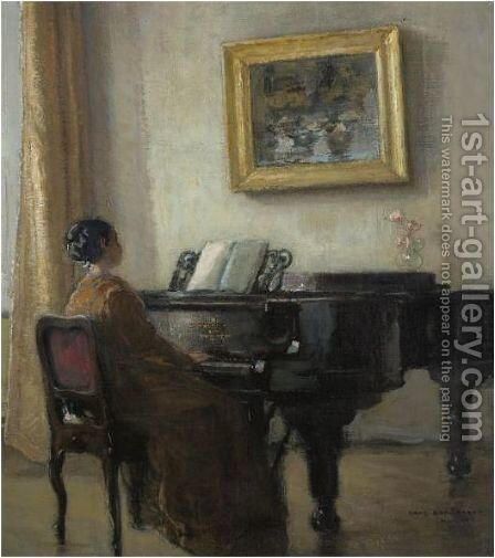 The Little Pianist by Hans Borchardt - Reproduction Oil Painting