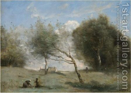 Les Pres De La Petite Ferme by Jean-Baptiste-Camille Corot - Reproduction Oil Painting