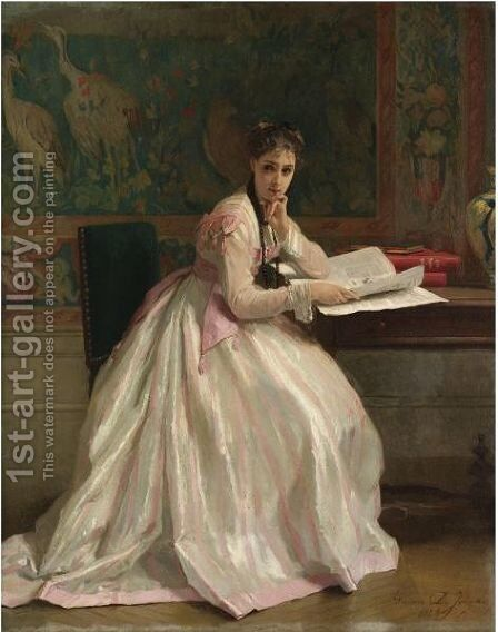 A Moment Of Distraction by Gustave Leonhard de Jonghe - Reproduction Oil Painting