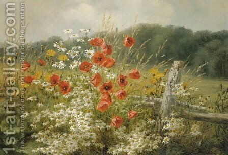 Poppies And Daisies by Anthonore Christensen - Reproduction Oil Painting