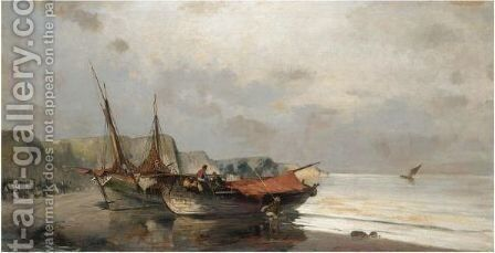 Fishing Boats Along The Shore by Constantinos Volanakis - Reproduction Oil Painting