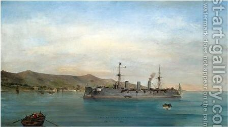 S.M.S. Kaiserin Augusta, Phaleron Bay 1897 by Constantinos Volanakis - Reproduction Oil Painting