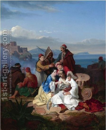 Scene From The Greek War Of Independence 2 by Continental School - Reproduction Oil Painting