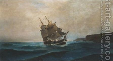 Frigate Along The Shore by Constantinos Volanakis - Reproduction Oil Painting