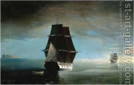 Ships At Sea by Eleni Prosalentis - Reproduction Oil Painting