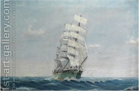 A Full-Rigged Ship by Emilios Prosalentis - Reproduction Oil Painting