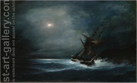 Frigate In The Moonlight by Constantinos Volanakis - Reproduction Oil Painting