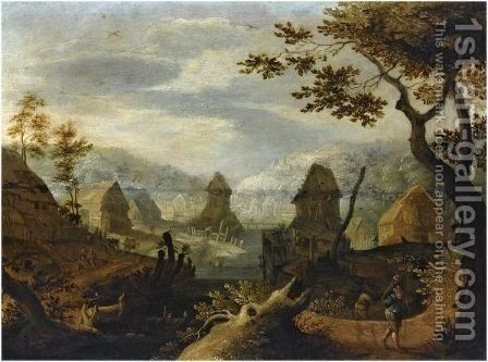 A River Landscape With A Village In Schwalbach With Travellers To The Right by Anton Mirou - Reproduction Oil Painting