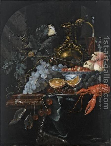 A Still Life With Grapes, Strawberries In A Porcelain Bowl, Peaches, A Silver-Gilt Jug by (after) Willem Van Aelst - Reproduction Oil Painting