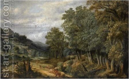 A Wooded Landscape With Travellers On A Path by Netherlandish School - Reproduction Oil Painting