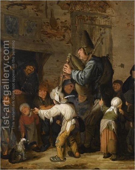 A Bagpipe And A Violin Player Making Music For Peasants by Haarlem School - Reproduction Oil Painting