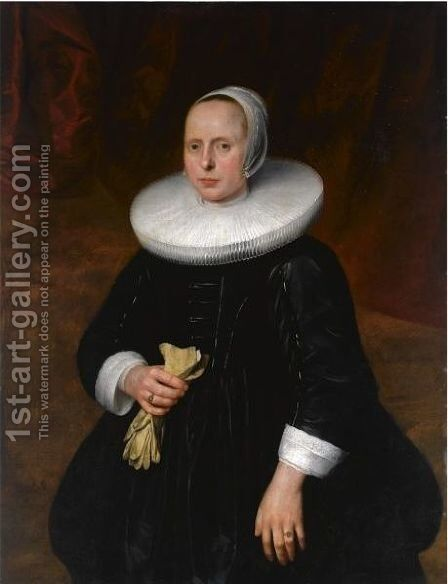 A Portrait Of A Lady, Standing Three-Quarter Length, Wearing A Black Dress With A Mill-Stone Collar by (after) Thomas De Keyser - Reproduction Oil Painting