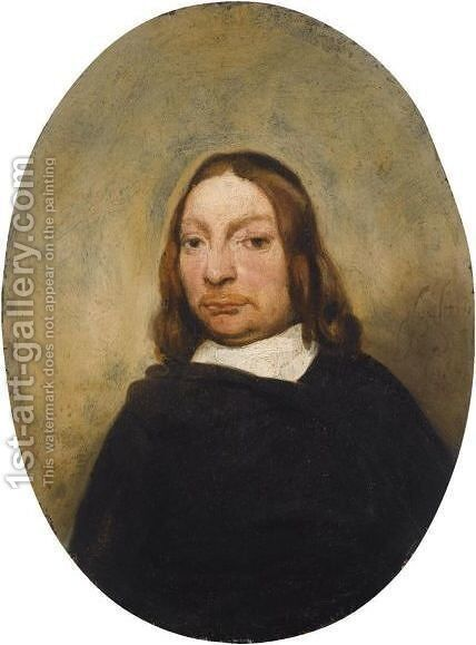 A Portrait Of A Gentleman, Half Length, Wearing A Black Coat With A White Collar by Barent Fabritius - Reproduction Oil Painting