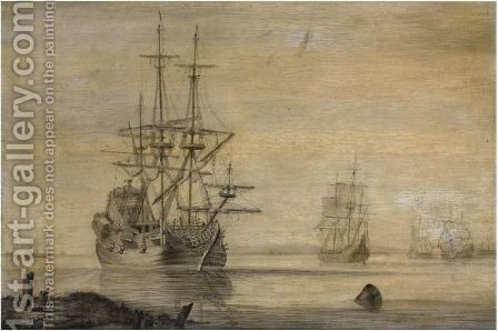 Sea-Going Vessels In Calm Water by Heerman Witmont - Reproduction Oil Painting