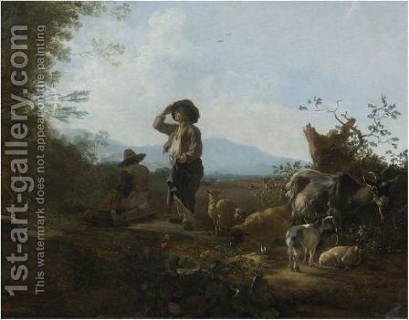 An Italianate Landscape With Shepherds Resting With Their Flock by Adam Pynacker - Reproduction Oil Painting