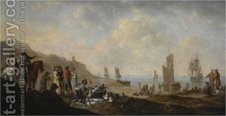 A Beach Scene With Fishermen Unloading The Catch, Two Horsemen Conversing To The Left by Jan De Bondt - Reproduction Oil Painting
