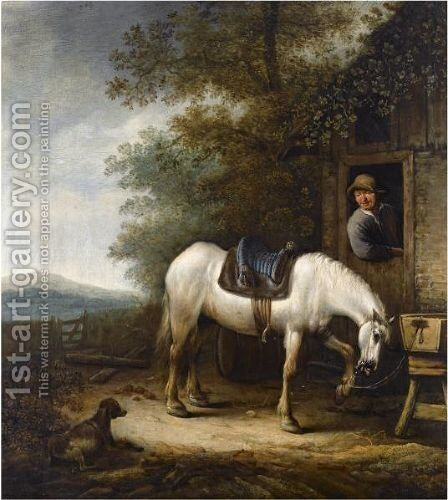 A Horse Near A Barn, With A Horseman Standing In The Doorway, A Dog In The Foreground by Haarlem School - Reproduction Oil Painting