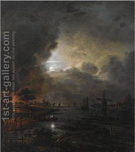 A Moonlit River Landscape With A Village Burning In The Background by (after) Aert Van Der Neer - Reproduction Oil Painting