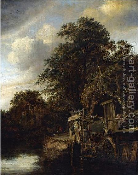 A Wooded River Landscape With A Woman And Child Looking Out Over The Water by Cornelius Decker - Reproduction Oil Painting