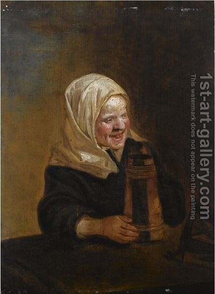 A Young Girl Sitting At A Table, Holding A Beer Mug by (after) Frans Hals - Reproduction Oil Painting