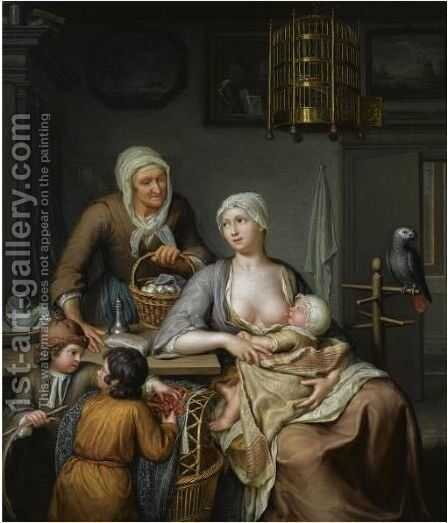 A Mother Nursing A Child In An Interior by Hieronymus Van Der Mij - Reproduction Oil Painting