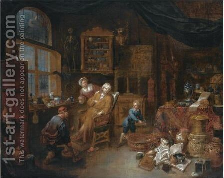 A Doctor's Interior With A Doctor Treating A Patient's Ankle, Together With A Woman Offering A Drink And A Little Boy Nearby by Jan Josef, the Elder Horemans - Reproduction Oil Painting