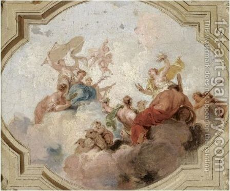 An Allegorical Representation With The Fates And Mercury by Jacob de Wit - Reproduction Oil Painting