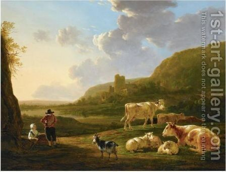 A Southern River Landscape With Shepherds Resting With Their Herd, A View Of A Ruin Beyond by Jacob van Strij - Reproduction Oil Painting