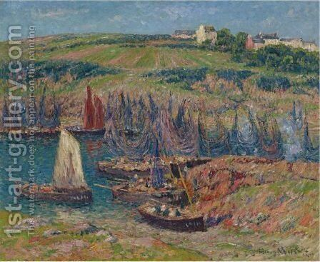 Sardiniers A Douelan by Henri Moret - Reproduction Oil Painting