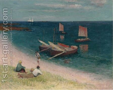 La Cote D'Armor, Plage by Henri Moret - Reproduction Oil Painting