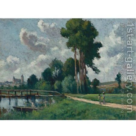 Auxerre, Paysage Au Bord De La Riviere by Maximilien Luce - Reproduction Oil Painting
