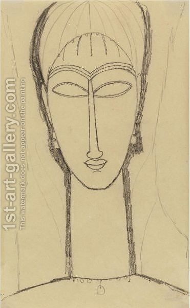 Tete De Cariatide by Amedeo Modigliani - Reproduction Oil Painting