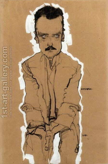Portrait Of Eduard Kosmack, Frontal, With Clasped Hands by Egon Schiele - Reproduction Oil Painting