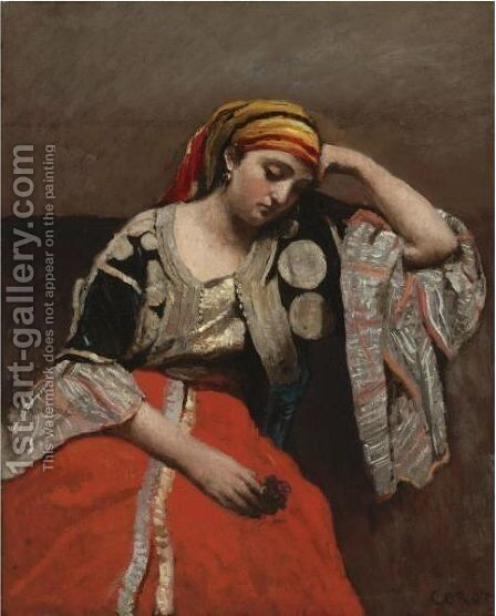 Juive D'Alger (L'Italienne) by Jean-Baptiste-Camille Corot - Reproduction Oil Painting
