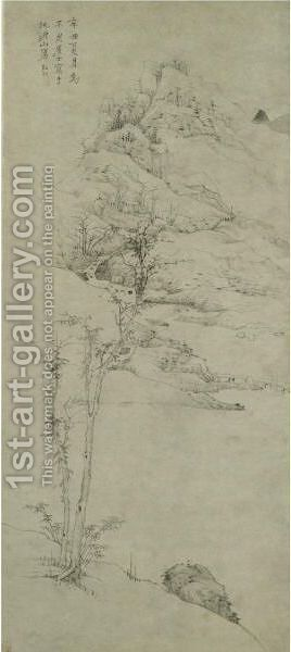 TREES BY THE MOUNTAIN STREAM by Hongren - Reproduction Oil Painting