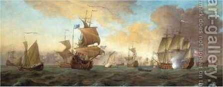 The British Fleet At Sea, 1688 by (after) Willem Van De, The Younger Velde - Reproduction Oil Painting