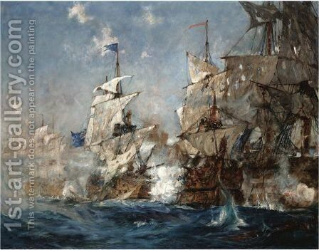 The Battle Of Trafalgar, 21st October 1805 by Charles Edward Dixon - Reproduction Oil Painting