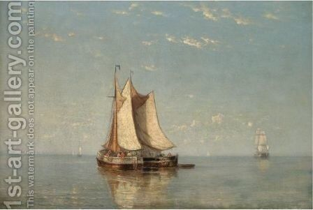 Fishing Boats In A Calm by Joannes Frederick Schutz - Reproduction Oil Painting