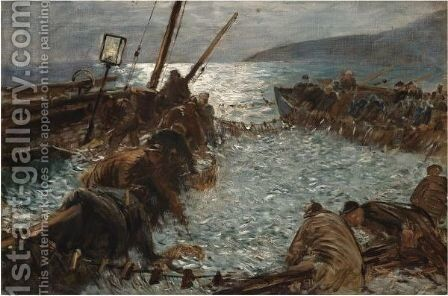 A Study For The Pilchards by Charles Napier Hemy - Reproduction Oil Painting