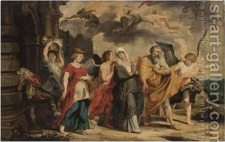 The Flight Of Lot And His Family From Sodom by (after) Willem Van, The Elder Herp - Reproduction Oil Painting