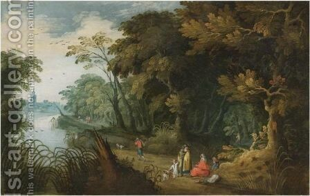 A Wooded River Landscape With Travellers Resting In The Foreground, A Church Beyond by (after) Alexander Keirincx - Reproduction Oil Painting