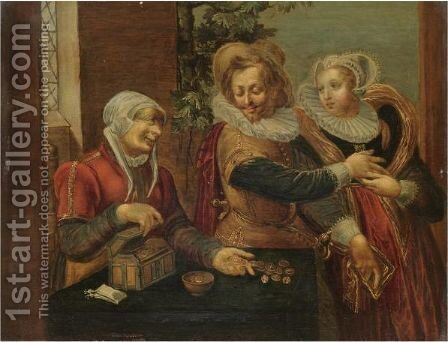 A Brothel Scene With A Young Couple And A Procuress by (after) Willem Buytewech - Reproduction Oil Painting