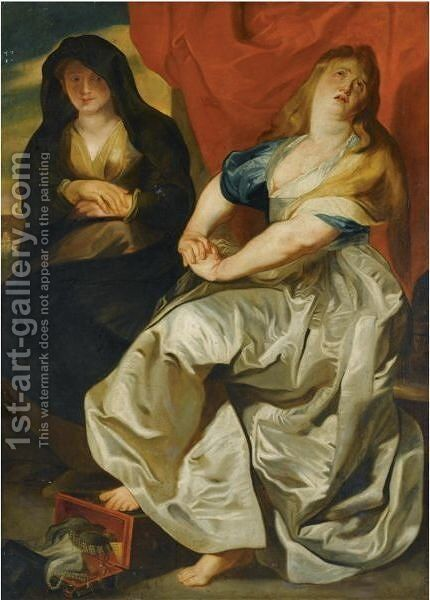 The Magdalene Repenting Of Her Wordly Vanities by (after) Sir Peter Paul Rubens - Reproduction Oil Painting