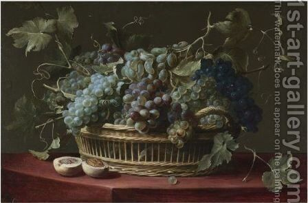 A Still Life With A Basket Of Grapes On The Vine, A Halved Peach On The Ledge Below by (after) Frans Snyders - Reproduction Oil Painting