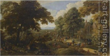 Landscape With Travellers Passing Through A Village by (after) Pieter Bout And Adriaen Fransz. Boudewijns - Reproduction Oil Painting