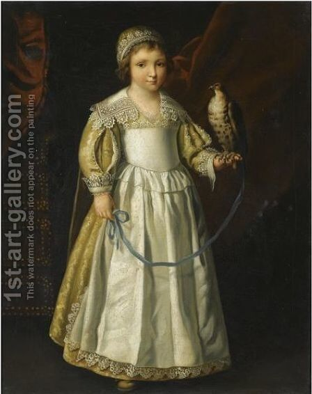 Portrait Of A Anne-Marie De Chevreuse, Full Length, Holding A Falcon Aged Five Years Old by (after) Philippe De Champaigne - Reproduction Oil Painting