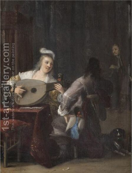 A Tavern Interior With A Lady Playing A Lute And A Courting Cavalier Kneeling Beside Her by Anthonie Palamedesz. (Stevaerts, Stevens) - Reproduction Oil Painting