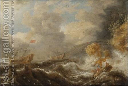 Shipping In A Tempestuous Sea by (after) Cornelis Mahu - Reproduction Oil Painting