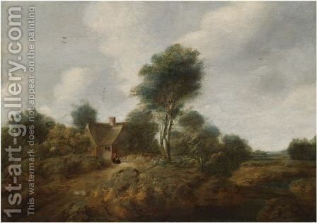 A Wooded Landscape With Figures Before A Cottage by Cornelis van Zwieten - Reproduction Oil Painting
