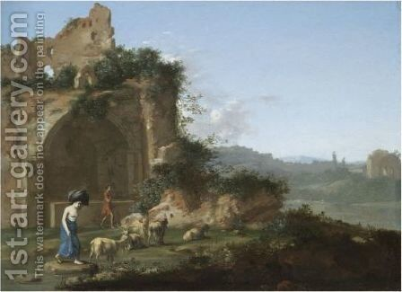 An Italianate Landscape With A Goat Herder And A Washerwoman Amongst Ruins by (after) Cornelis Van Poelenburgh - Reproduction Oil Painting